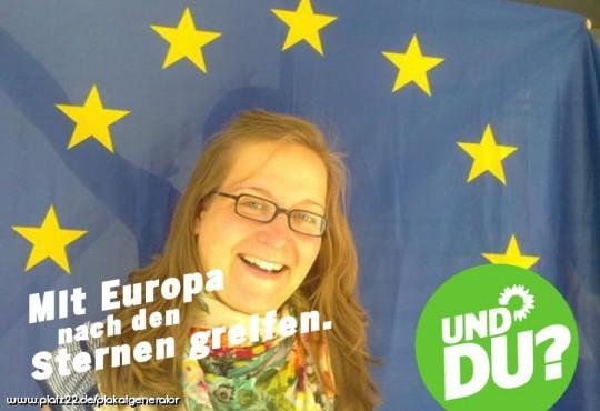 Silke Gebel mit Europa nach den Sternen greifen (Bild: Silke Gebel, MdA; CC BY-NC-ND 2.0)