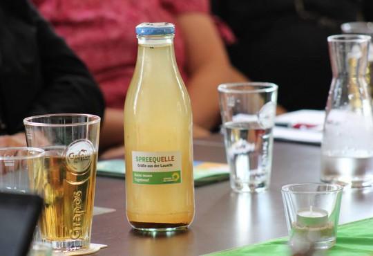 Spreewasser in Glasflasche (Bild: Katharina-Franziska Kremkau / Silke Gebel, MdA; CC BY 4.0)